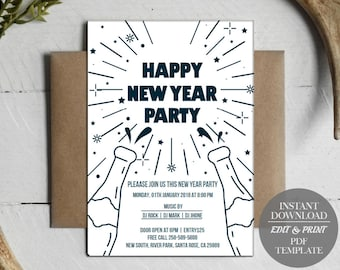 instant download new year party flyer template printable new year invitation card new year invitation card