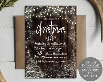 christmas party invitations etsy