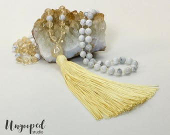 Sunny Disposition Citrine and White Howlite 108 Bead Hand-Knotted Mala Tassel Necklace, Yoga Mala, Meditation Mala