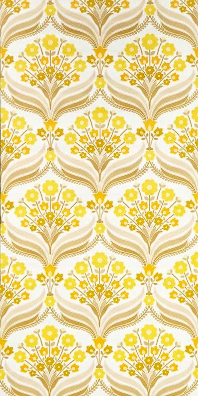 70s Floral Wallpaper 0311a Running Meter Vintage Flower Etsy