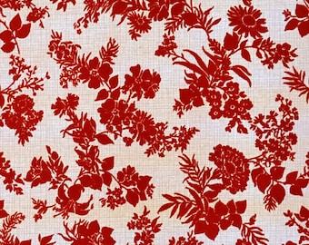 70s velour wallpaper #1038 - running meter or roll / vintage velour wallpaper / red