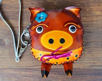Genuine Leather,Animal Prints owl, Zipper Handmade Leather, Coins, purse, wallet.