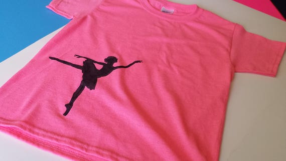 Small Beans Wear Fun Based Child/'s Shirt Youth/'s Pink Tee Black Silhouette Ballerina Dance Girl Heavy Cotton Gildan T-Shirt