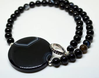Black necklace, beaded necklace, black agate necklace, agate necklace, striped agate necklace, black agate pendant