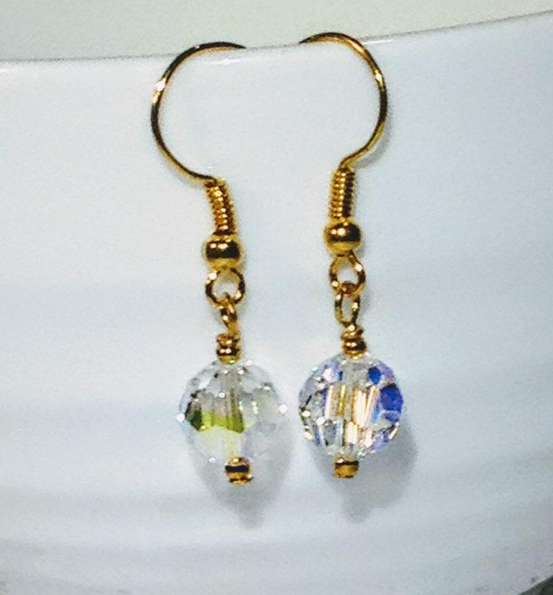 Single drop crystal dangle earrings Clear crystal single drop gold plated dangle Earrings Simply Chic Earrings.