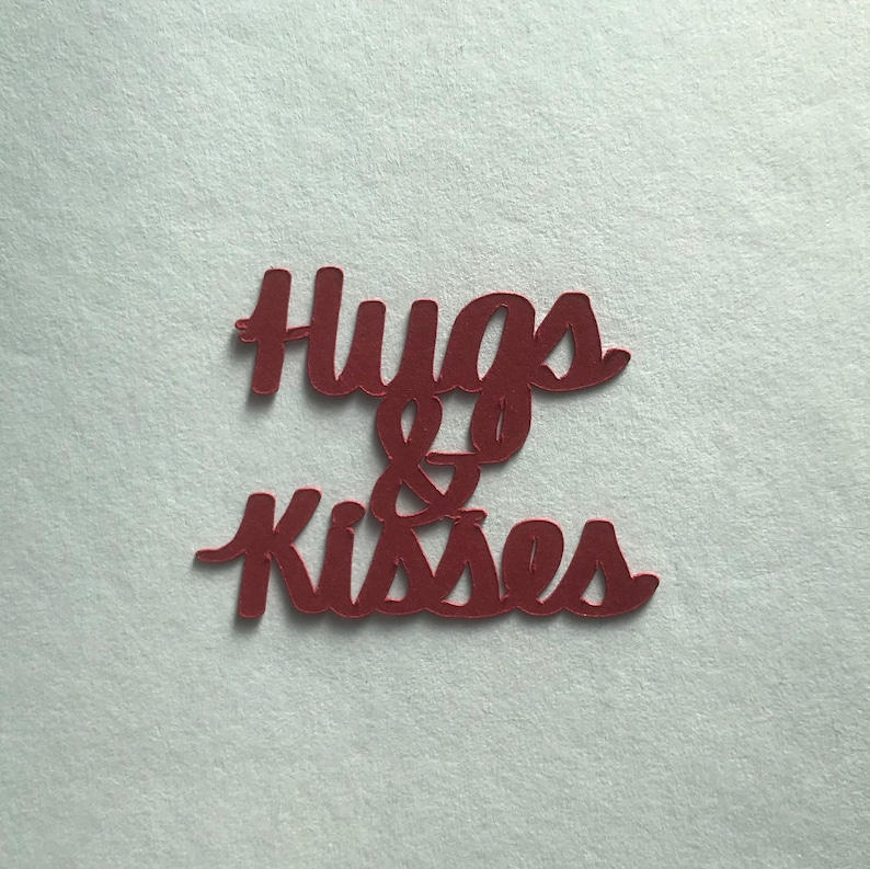 party decorations cardmaking Valentine/'s  Love Theme: Hugs /& Kisses 50-piece card stock phrase confetti scrapbooking