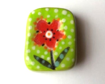 Red flower ceramic pendant