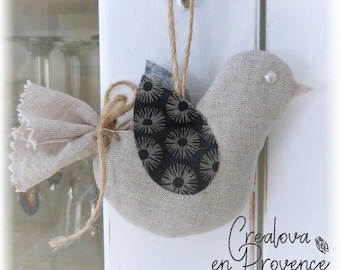 Linen bird to hang - scented lavender of Provence