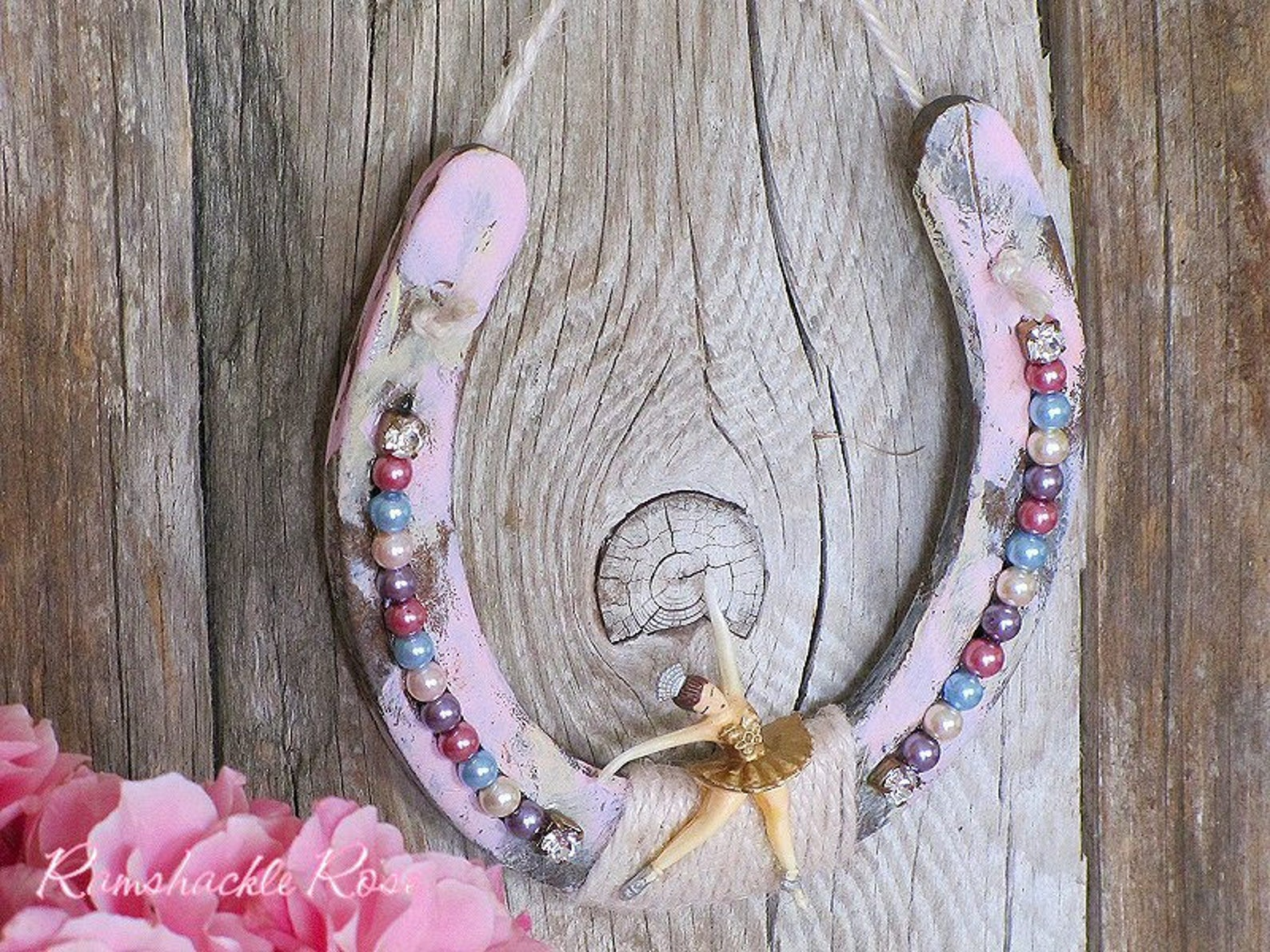 adorable shabby ballerina horseshoe, ballet, pastel, shabby chic, rhinestones, equestrian, horses, barn decor, rustic glam, cowg