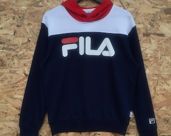 FILA vintage 90s Fila big spellout multicolour hoodie jumper pullover M 388aff6cd