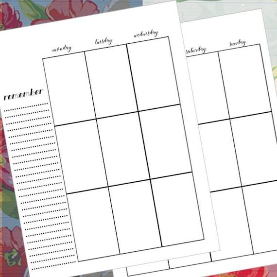 happy planner inserts printable planner blank weekly etsy