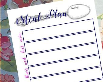 Weekly Meal Planner, Meal Planning Printable, Menu Planner Printable, INSTANT DOWNLOAD