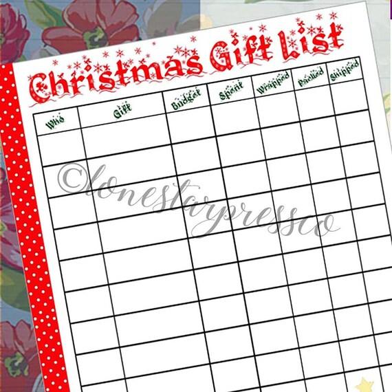 Happy Planner Insert Christmas Gift List Christmas Gift Etsy
