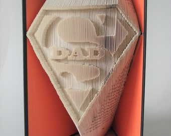 Dad Book Fold Pattern, Book folding, Superdad gift, Book art