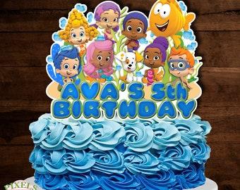 Pleasing Bubble Guppies Cake Topper Etsy Funny Birthday Cards Online Alyptdamsfinfo