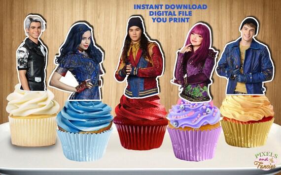 Descendientes Cupcake Toppers Descendientes 2 Cupcake Picks Etsy