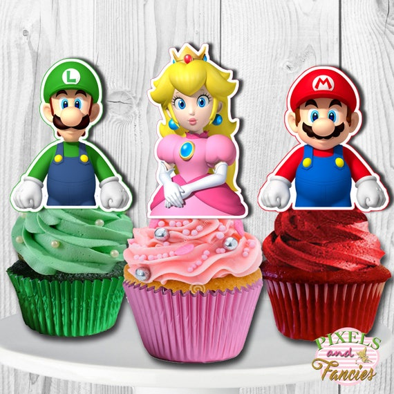 Super Mario Cupcake Toppers Super Mario Brothers Cake Pop Etsy