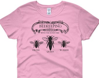 ccfb71c7 Women's Bee Short Sleeve T-Shirt, BEEKEEPING With the Honey Bee, Queen Bee  Shirt, Honey Bee Tee, Choose Size and Color
