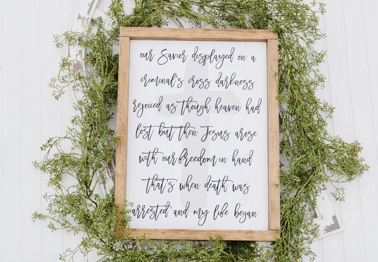 When Death Was Arrested, Easter Sign, Cross Sign, Worship Song Sign, Spring  Sign, Framed Sign, Farmhouse Sign