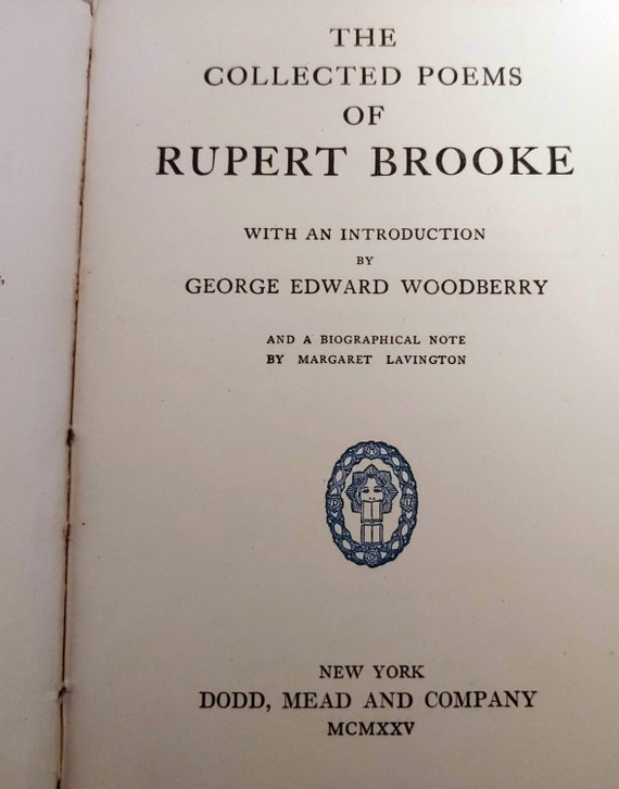 The Collected Poems Of Rupert Brooke 1915 Used Book