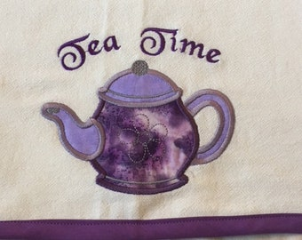 """Tea Time Flour Sack towel, double thickness, aprox 13""""x26"""", embroidery/applique design is aprox 5""""x5"""", back seam, contrasting trim"""