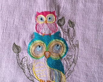 """Floursack, cotton, double thickness tea towel, 13""""x24"""", custome dyed, embroidery design 6.5""""x5"""" with contrasting trim"""