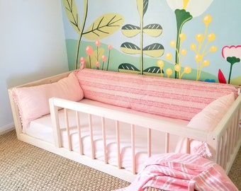 Montessori Floor Bed With Rails Full Or Double Size Floor Bed Etsy