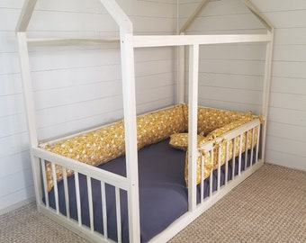 4 in 1 House Bed Montessori Hardwood Toddler Twin Full Bed
