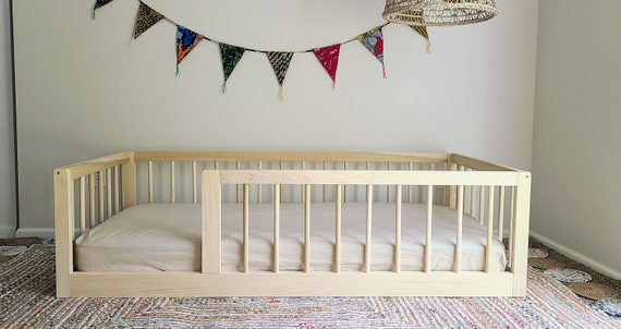 Montessori Floor Bed With Rails Twin, Toddler Bed Rails For Queen Bed