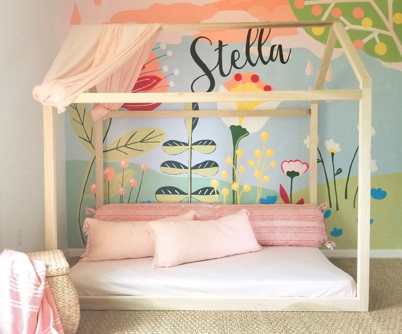 Hardwood Montessori Twin Full Toddler House Bed Frame Made ...