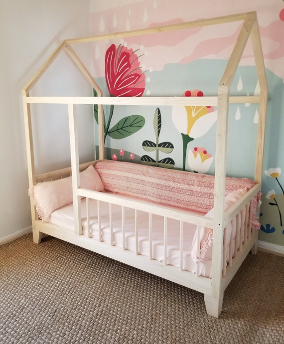brand new 1127e 1388c Raised FOUR Rail Hardwood Montessori Twin, Full, Toddler House Bed Frame  with Legs Made in USA Hardwood