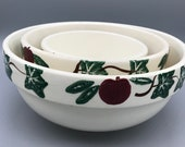 Crock Stop Pottery Nesting Bowls vintage yelloware sponge ware