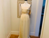 Gunne Sax Cream Colored Satin Tank Prom Dress By Jessica