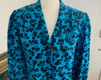 Vintage 1970/'s Judy Bond Exotic Blue Floral Balloon Sleeve Peasant Blouse Glamour Disco Size 10