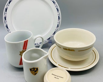 Northwest Airlines SIX Cups /& Saucers by REGO Fine China Blue Banded