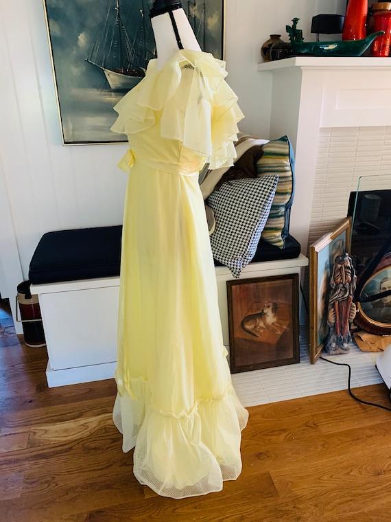 Vintage 1960's Yellow Poplin Prom Dress - image 7