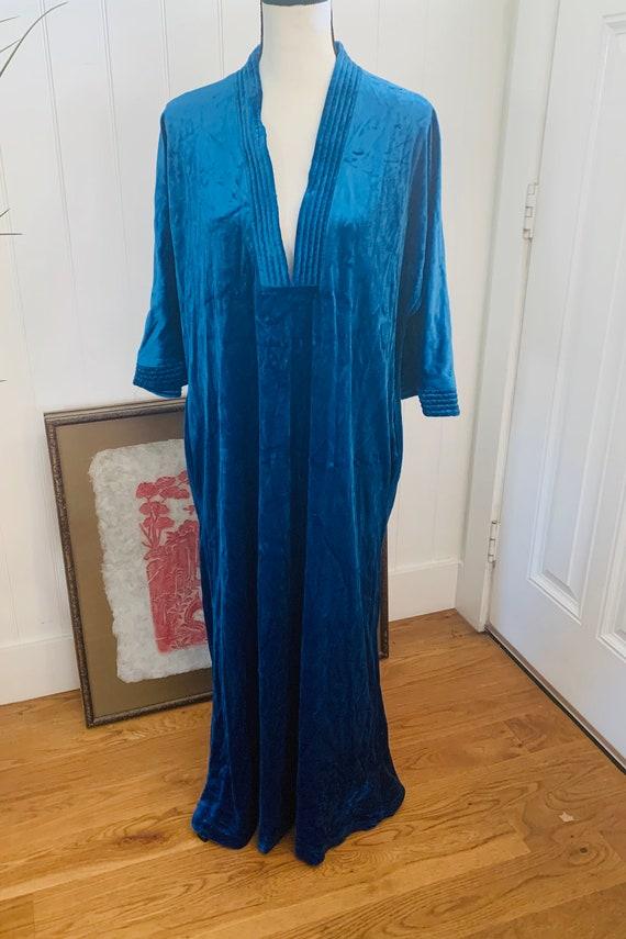 Vintage Diamond Tea Royal Blue Housedress/ Robe/ B