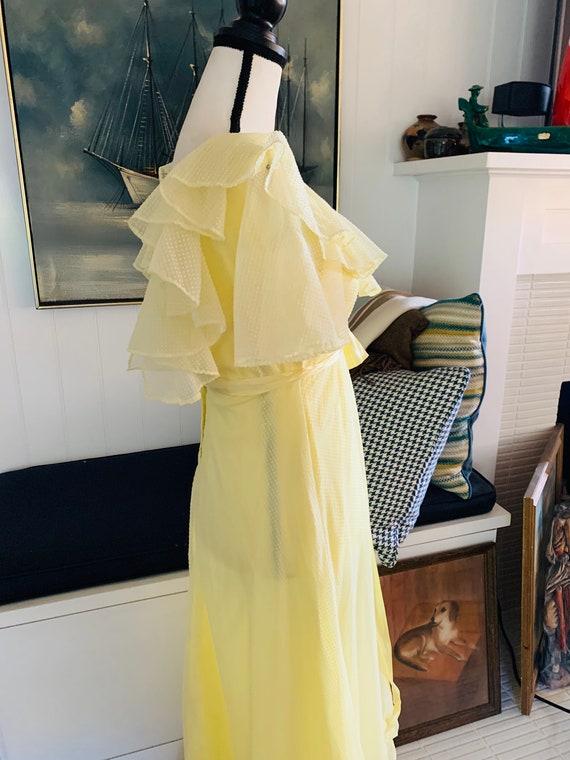 Vintage 1960's Yellow Poplin Prom Dress - image 5