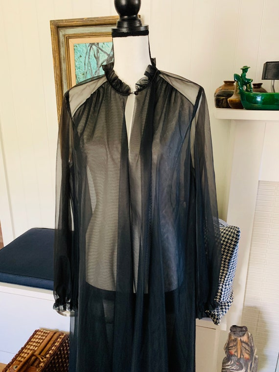 Vintage Vanity Fair Black Nylon Peignoir Robe