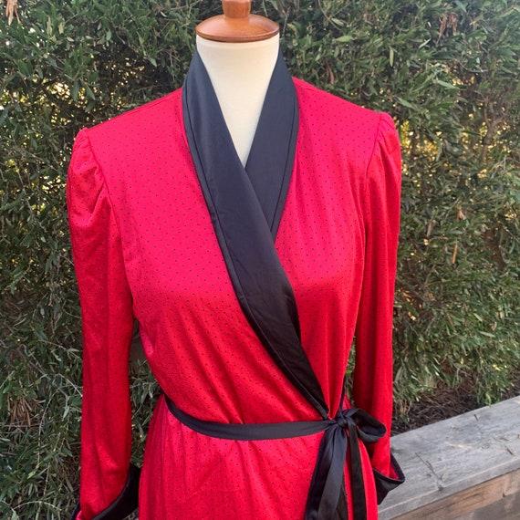 1980's Vanity Fair Polka Dot Red Robe