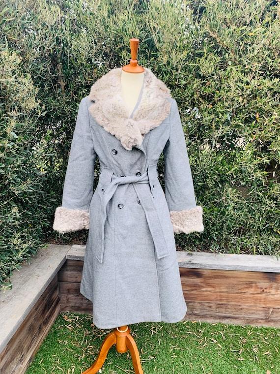 Vintage Sears Gray Wool Coat With Fur Trim