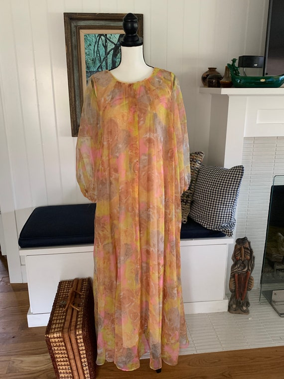 1960's Vintage Nylon Floral Waterfall Dress/ Retro