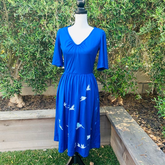 1970's Blue Alfred Shaheen Dress - image 5
