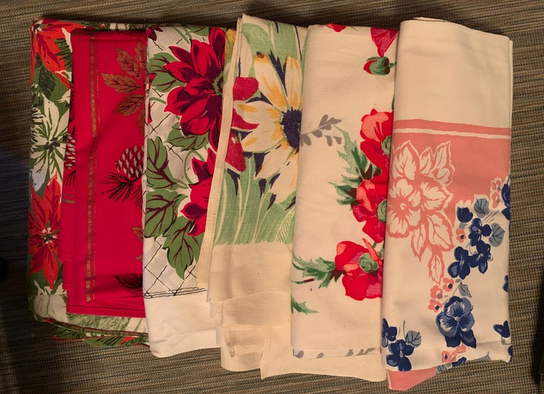 Vintage Tablecloths With Floral Graphics 1950 S Holiday Tablecloths Sold Individually