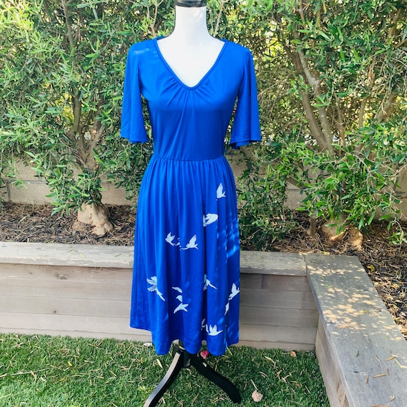 1970's Blue Alfred Shaheen Dress