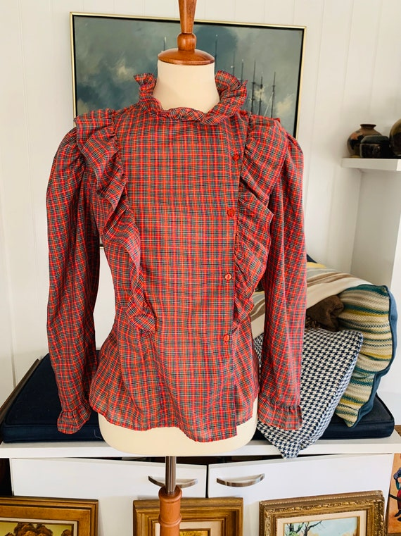 Vintage Ruffle Plaid Country Blouse