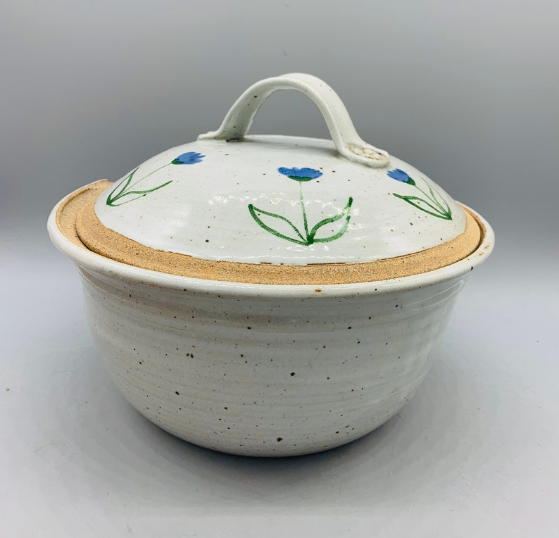 Blue Tulip Stoneware Casserole and Chip and Dip Bowl with Floral Border