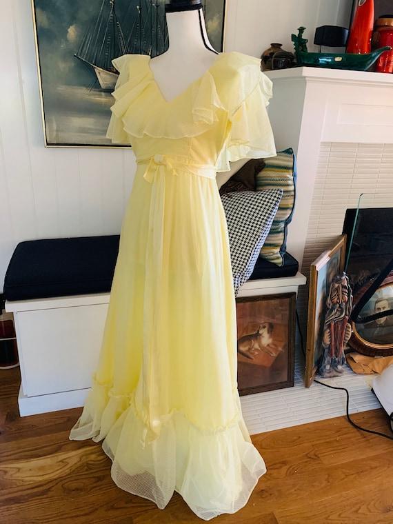 Vintage 1960's Yellow Poplin Prom Dress - image 8