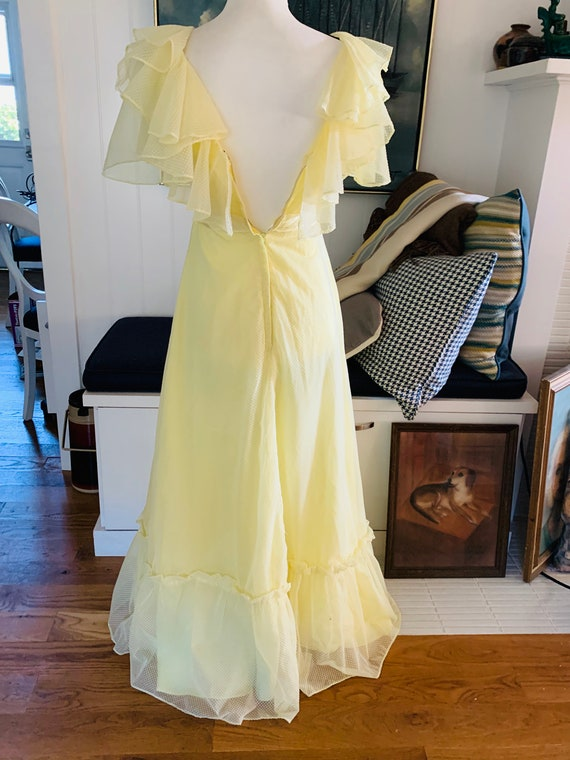 Vintage 1960's Yellow Poplin Prom Dress - image 6