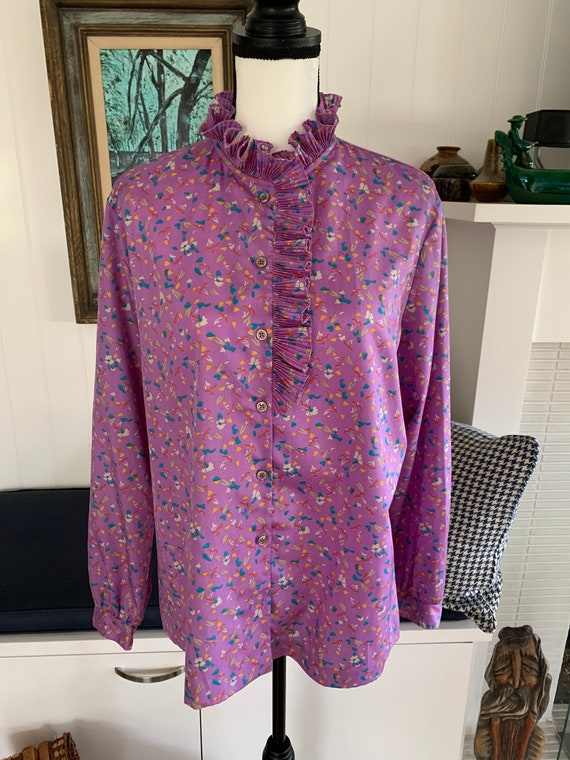Vintage Catalina Button Up Statement Blouse With … - image 1
